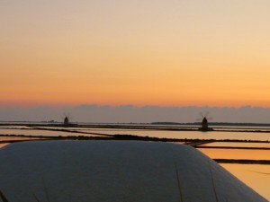 I made Pippo pull over the car for this warm sunset while driving by the Mediterranean sea salt fields.